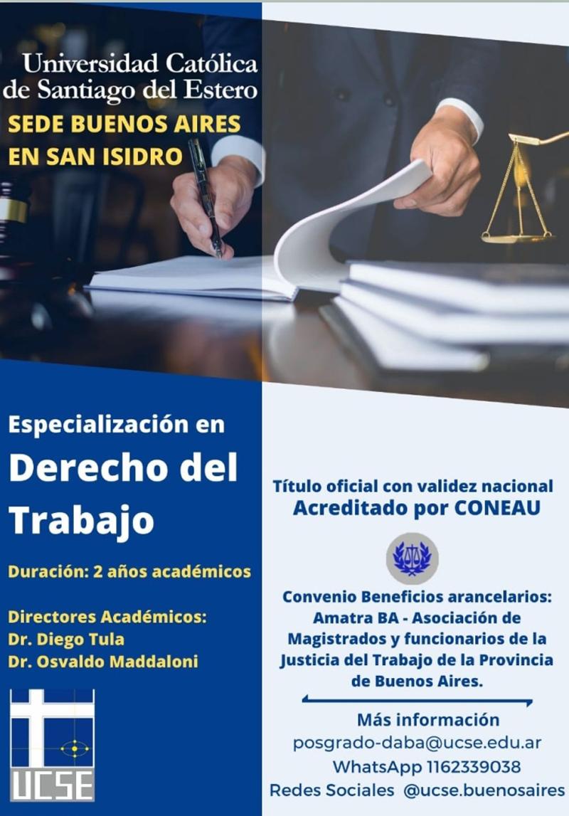 Especialización en DERECHO DEL TRABAJO