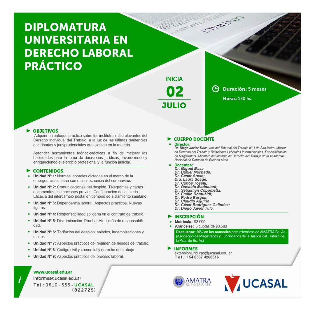 DIPLOMATURA UNIVERSITARIA EN DERECHO LABORAL PRÁCTICO