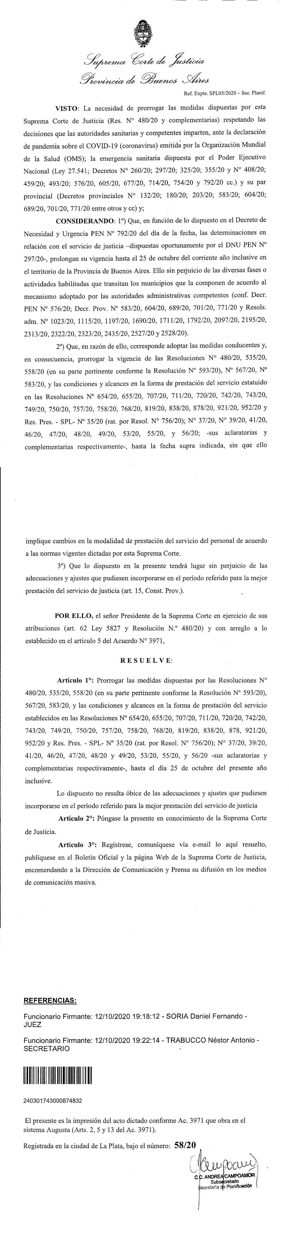 Extensión hasta el 25 de octubre del servicio de justicia en el contexto de la pandemia.