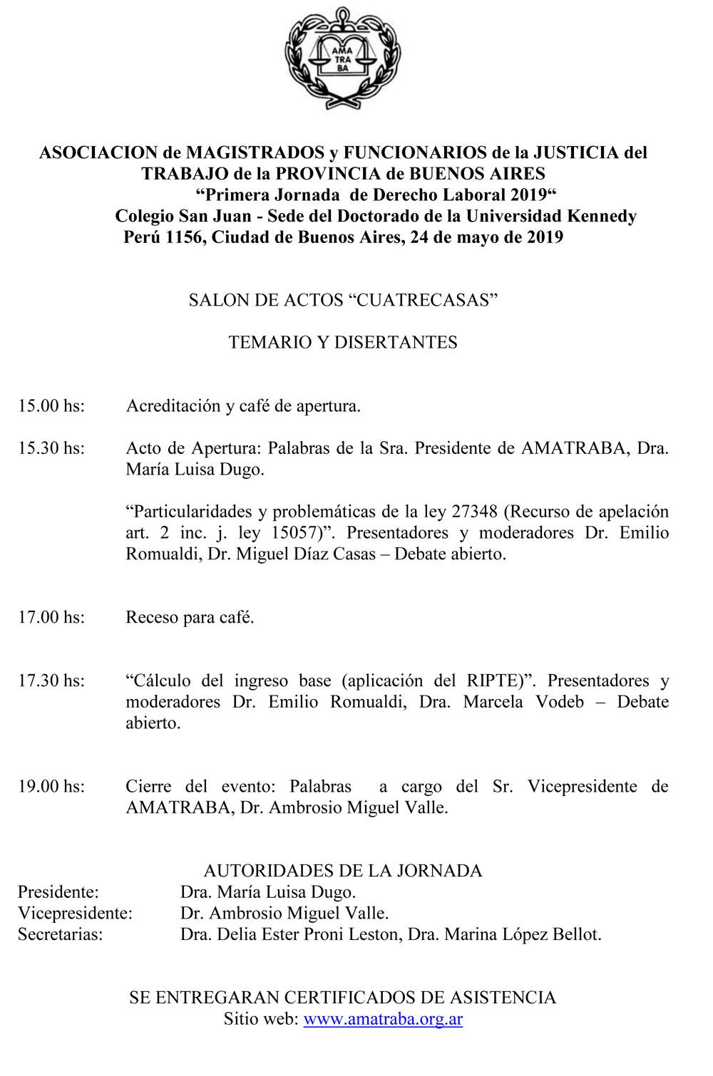 Primera Jornada Jornada de Derecho Laboral 2019
